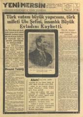 11_Kasım_1938_Yeni_Mersin_Gazetesi