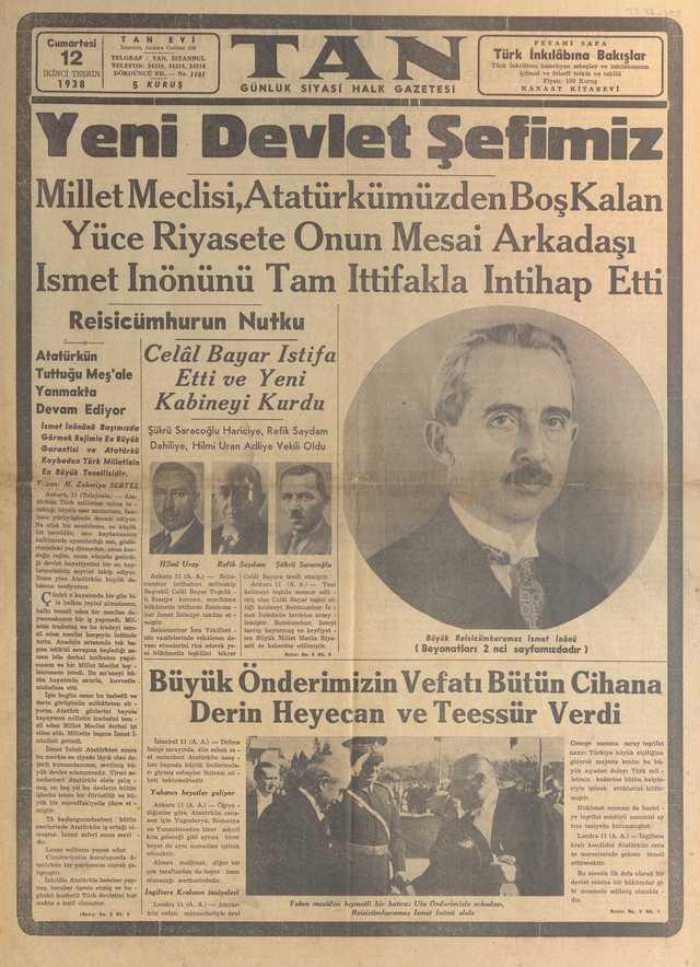 12_Kasım_1938_Tan_Gazetesi
