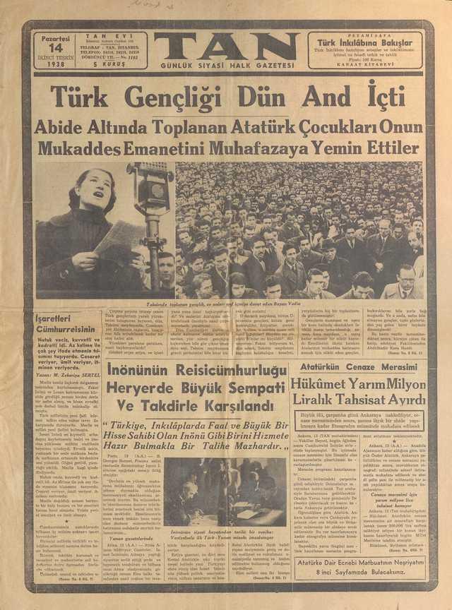 14_Kasım_1938_Tan_Gazetesi