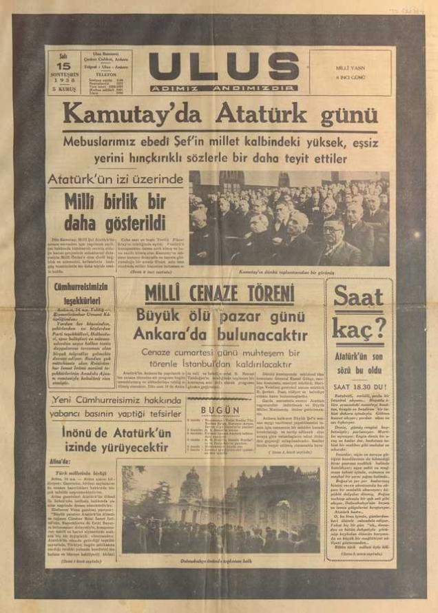 15_Kasım_1938_Ulus_Gazetesi