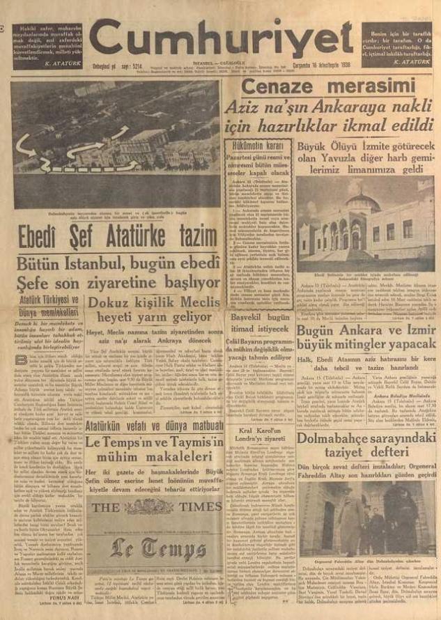 16_Kasım_1938_Cumhuriyet_Gazetesi