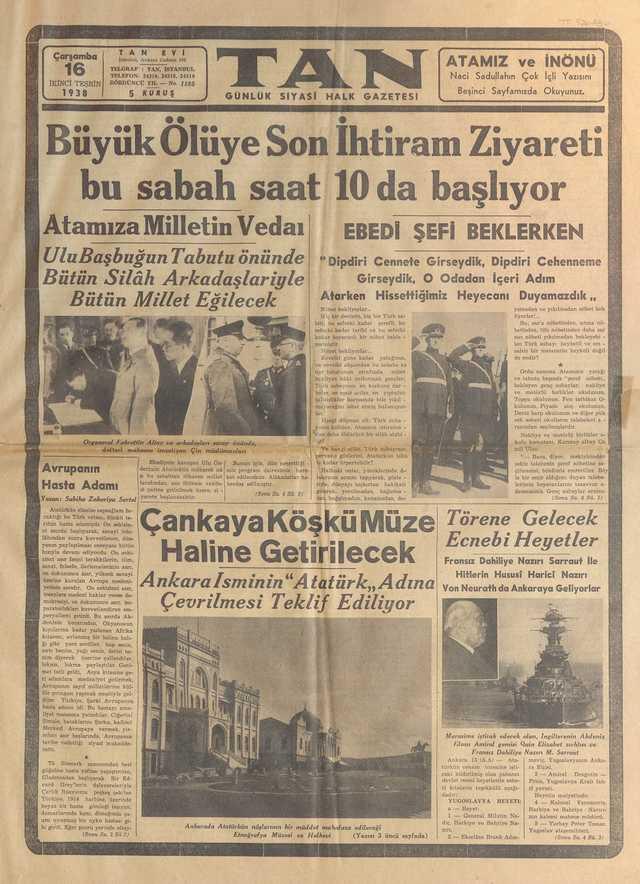 16_Kasım_1938_Tan_Gazetesi