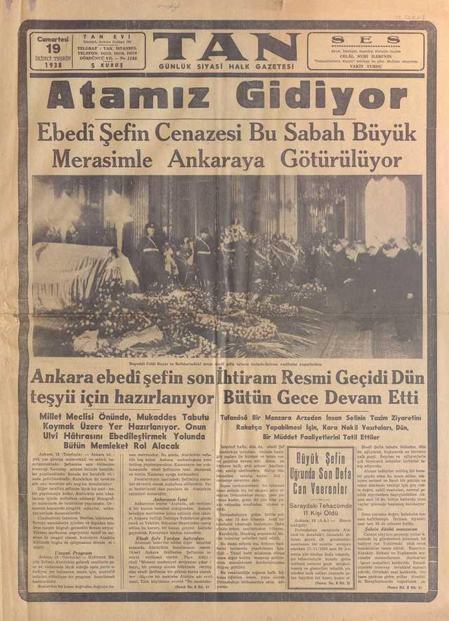 19_Kasım_1938_Tan_Gazetesi