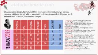 2019 yılı Atatürk takvimi 1366x768