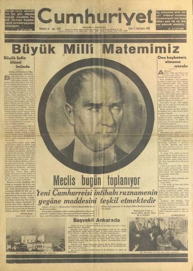 11 Kasım_1938_Cumhuriyet_Gazetesi