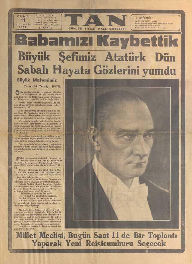 11_Kasım_1938_Tan_Gazetesi
