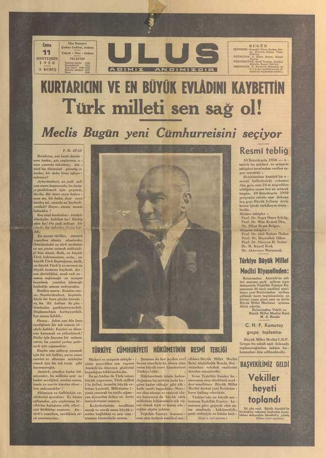 11_Kasım_1938_Ulus_Gazetesi