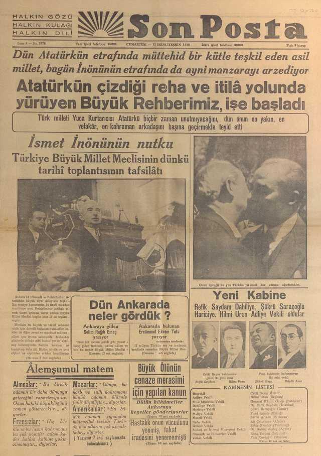 12_Kasım_1938_Son_Posta_Gazetesi