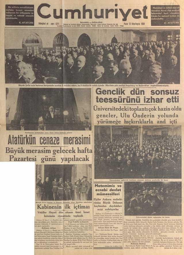 13_Kasım_1938_Cumhuriyet_Gazetesi
