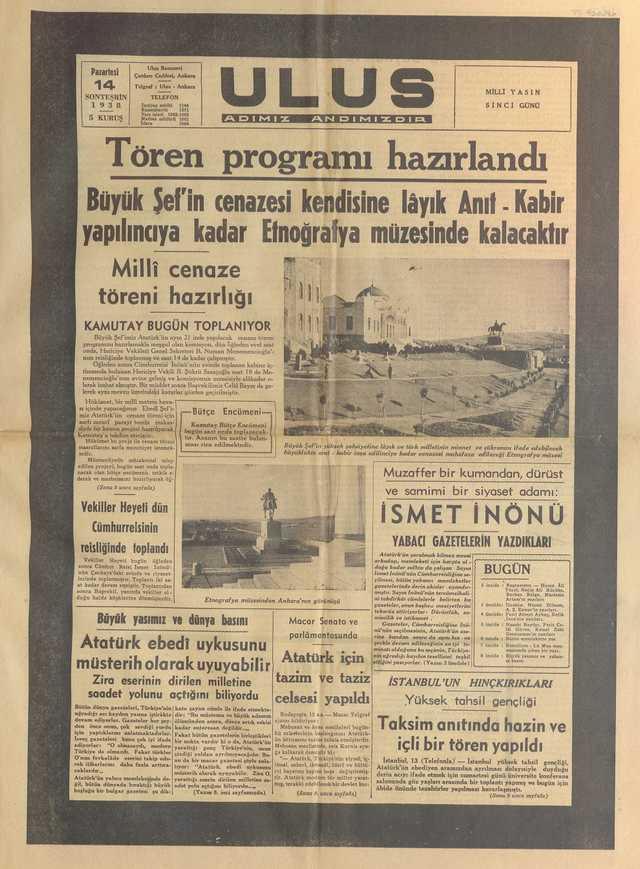 14_Kasım_1938_Ulus_Gazetesi