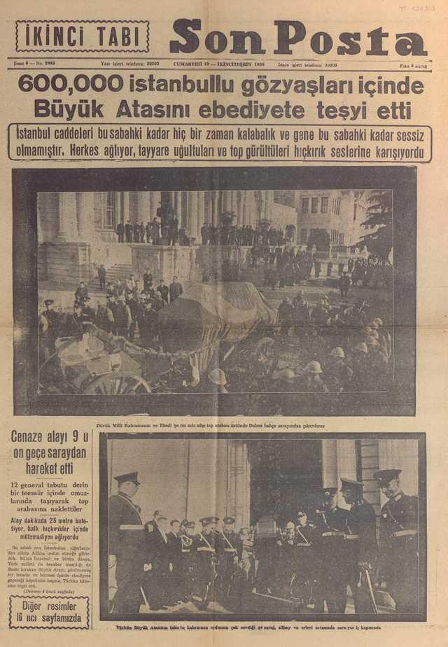 19_Kasım_1938_Son_Posta_Gazetesi