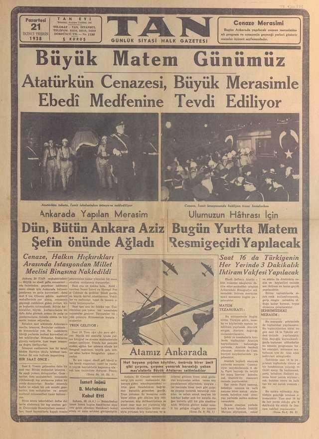 21_Kasım_1938_Tan_Gazetesi