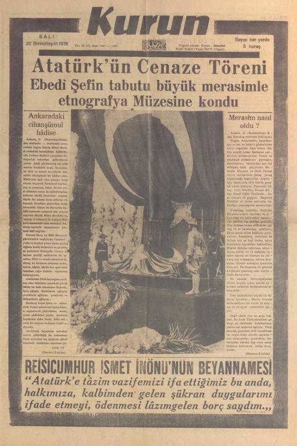 22_Kasım_1938_Kurun_Gazetesi