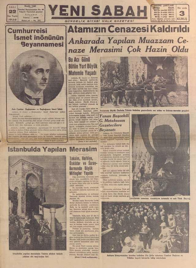 22_Kasım_1938_Yeni_Sabah_Gazetesi