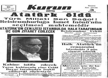 10 Kasım 1938 gazete manşetleri